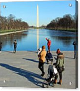 People At The Reflecting Pool Acrylic Print
