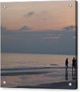 People Enjoy A Walk On The Beach Acrylic Print