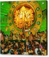 People Enjoying Inside Durga Puja Pandal Durga Puja Festival Acrylic Print