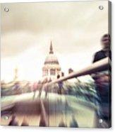 People On Millennium Bridge In London Acrylic Print