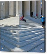 People On Steps With Columns Acrylic Print