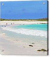 People On The Beach In Espanola Island. Acrylic Print