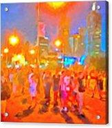 People Outside On Street Acrylic Print