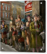 People - People Waiting For The Bus - 1943 Acrylic Print