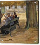 People Sitting On A Bench In Bezuidenhout. The Hague Acrylic Print