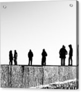 People Standing In Groups Abstract Monchrome Acrylic Print