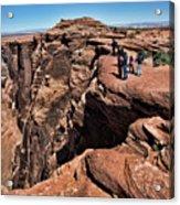 People View Horseshoe Bend Rock Edge  Acrylic Print