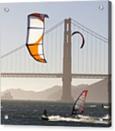 People Wind Surfing And Kitebording Acrylic Print by Skip Brown