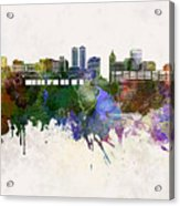 Peoria Skyline In Watercolor Background Acrylic Print