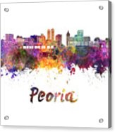 Peoria Skyline In Watercolor Acrylic Print