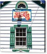 Pepsi Window At Ambler's Texaco Gas Station Acrylic Print
