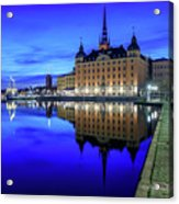 Perfect Riddarholmen Blue Hour Reflection Acrylic Print