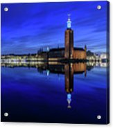 Perfect Stockholm City Hall Blue Hour Reflection Acrylic Print