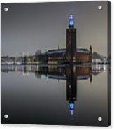 Perfect Stockholm City Hall Night Reflection Acrylic Print