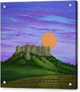 Perigee Moon Rising Above Crow Butte Acrylic Print