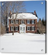 Period Vintage New England Brick House In Winter Acrylic Print
