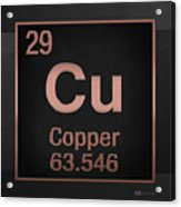 Periodic Table Of Elements - Copper - Cu - Copper On Black Acrylic Print