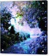 Fantasy Garden Path Periwinkle Acrylic Print