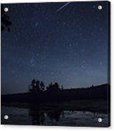 Perseid Meteor Shower Over Pond Acrylic Print