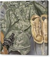 Personalized Art designed by a soldier for a soldier Retiring or PCSing   Acrylic Print