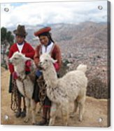 Peruvian Girls With Llamas Acrylic Print