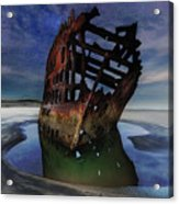 Peter Iredale Shipwreck Under Starry Night Sky Acrylic Print