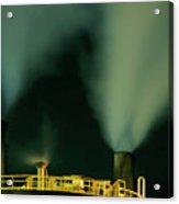 Petroleum Refinery Chimneys At Night Acrylic Print