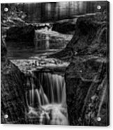 Pewits Nest Waterfalls In Black And White Acrylic Print