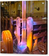 Pews Under Stained Glass Acrylic Print