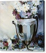 Pewter Coffee Pot And Daisies Acrylic Print