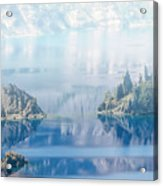 Phantom Ship Island In Mist At Crater Lake Acrylic Print