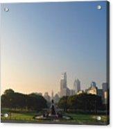 Philadelphia Across Eakins Oval Acrylic Print