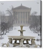 Philadelphia Art Museum From The West In Winter Acrylic Print