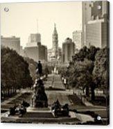 Philadelphia Benjamin Franklin Parkway In Sepia Acrylic Print by Bill Cannon