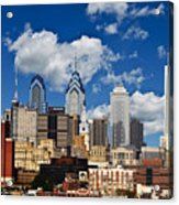 Philadelphia Blue Skies Acrylic Print by Bill Cannon