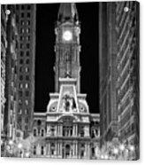 Philadelphia City Hall At Night Acrylic Print by Val Black Russian Tourchin