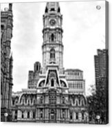 Philadelphia City Hall Building On Broad Street Acrylic Print