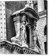 Philadelphia City Hall Window In Black And White Acrylic Print