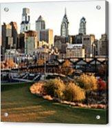 Philadelphia Cityscape From Penn Park In University City Acrylic Print