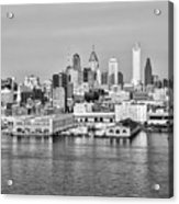 Philadelphia From The Waterfront In Black And White Acrylic Print