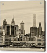 Philadelphia From The Waterfront In Sepia Acrylic Print