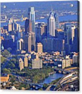 Philadelphia Museum Of Art And City Skyline Aerial Panorama Acrylic Print by Duncan Pearson