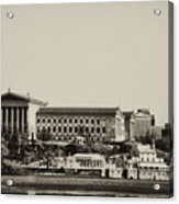 Philadelphia Museum Of Art And The Fairmount Waterworks From West River Drive In Black And White Acrylic Print