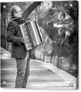 Philadelphia Music Man Bnw Acrylic Print