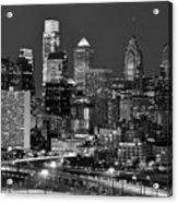 Philadelphia Skyline At Night Black And White Bw  Acrylic Print