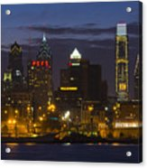 Philadelphia Skyline At Night Acrylic Print by Brendan Reals