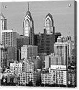 Philadelphia Skyline Black And White Bw Wide Pano Acrylic Print
