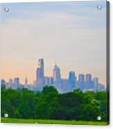 Philadelphia Skyline From West Lawn Of Fairmount Park Acrylic Print by Bill Cannon