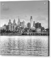 Philadelphia Skyline In Black And White Acrylic Print