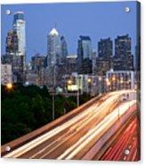 Philadelphia Skyline Night Acrylic Print by Binh Ly